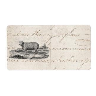 Plantilla del cordero de la oveja de las ovejas me etiquetas de envío