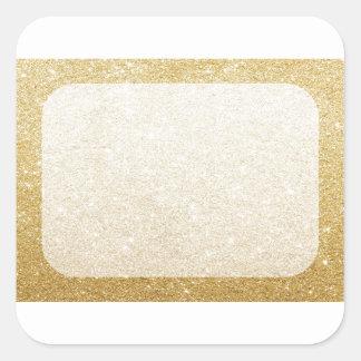 plantilla del espacio en blanco del brillo del oro pegatina cuadrada