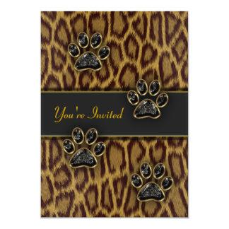 Plantilla del fiesta del estampado leopardo invitación 12,7 x 17,8 cm