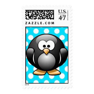 Plantilla del franqueo del lunar del pingüino sello postal
