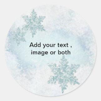 Plantilla del marco de la foto de la nieve del pegatina redonda