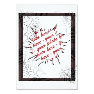 Plantilla del marco de la foto de los Web de araña Invitación Personalizada