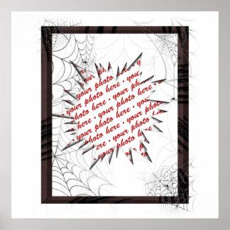 Plantilla del marco de la foto de los Web de araña Póster