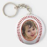 Plantilla del marco de la foto del béisbol llavero redondo tipo pin