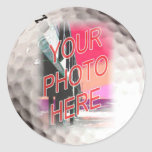 Plantilla del marco de la pelota de golf etiqueta redonda