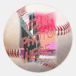 Plantilla del marco del béisbol pegatina redonda