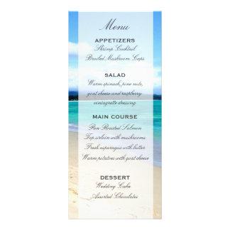 Plantilla del menú del boda de playa diseños de tarjetas publicitarias