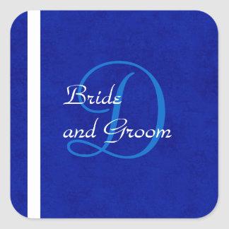 Plantilla del monograma del boda del azul real y pegatina cuadrada