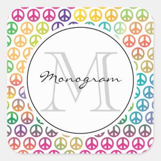 Plantilla del monograma del signo de la paz pegatina cuadrada