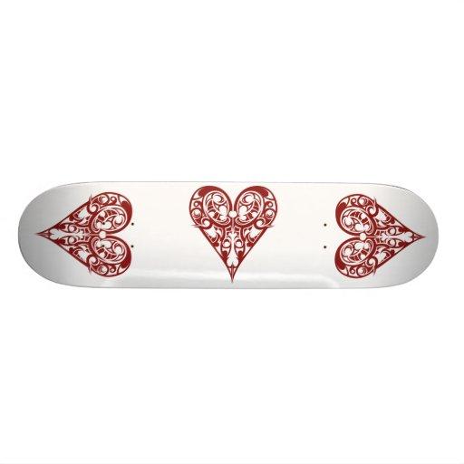 plantilla del monopatín, corazones, corazones, cor skate boards