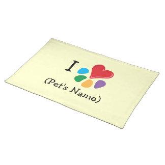 Plantilla del name_Heart-Paw del mascota del coraz Mantel