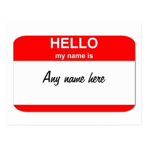 Plantilla del Nametag Tarjetas Postales