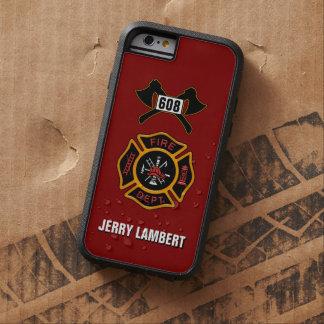 Plantilla del nombre de la insignia del bombero funda de iPhone 6 tough xtreme