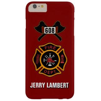 Plantilla del nombre de la insignia del bombero funda para iPhone 6 plus barely there