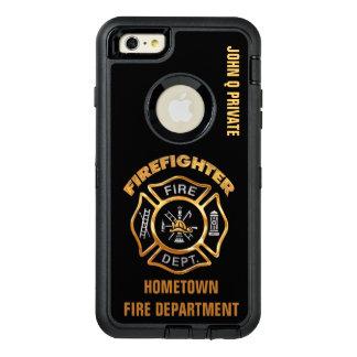 Plantilla del nombre del bombero del oro funda OtterBox defender para iPhone 6 plus