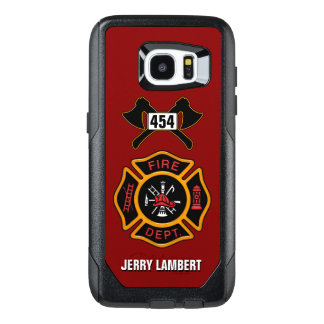 Plantilla del nombre del emblema del bombero del funda OtterBox para samsung galaxy s7 edge