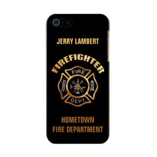 Plantilla del nombre del oro del bombero funda para iPhone 5 incipio feather shine