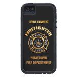 Plantilla del nombre del oro del cuerpo de bombero iPhone 5 protectores