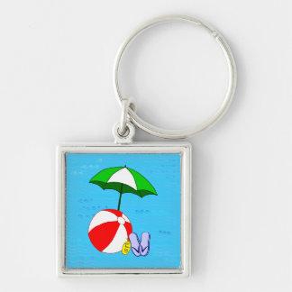 Plantilla del paraguas de la piscina de la pelota llavero cuadrado plateado
