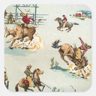 Plantilla del pegatina del vaquero del vintage