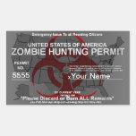 Plantilla del permiso de la caza del zombi rectangular pegatina