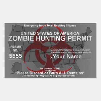Plantilla del permiso de la caza del zombi pegatina rectangular