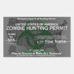 Plantilla del permiso de la caza del zombi rectangular altavoz