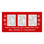 Plantilla del photocard del navidad para tres foto tarjeta fotográfica
