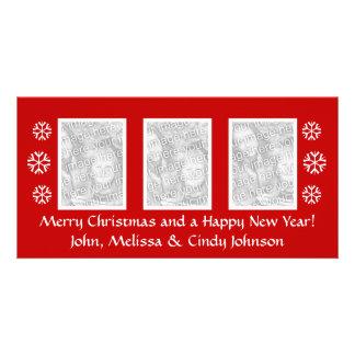 Plantilla del photocard del navidad para tres tarjeta fotográfica
