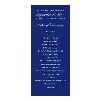 Plantilla del programa del boda de los azules invitación 10,1 x 23,5 cm