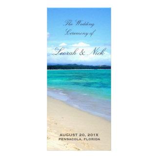 Plantilla del programa del boda de playa lona