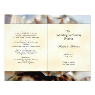 "Plantilla del programa del boda del Seashell del Folleto 8.5"" X 11"""