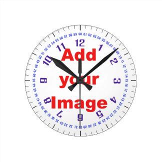 Plantilla del reloj - azul complejo - añada la ima