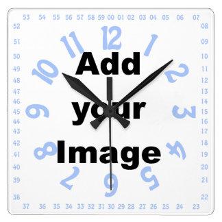 Plantilla del reloj - azul numerado cuadrado - aña
