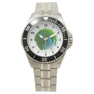 Plantilla del reloj con el reloj de la tierra del
