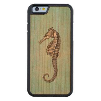 Plantilla del Seahorse del océano del caballo de Funda De iPhone 6 Bumper Cerezo