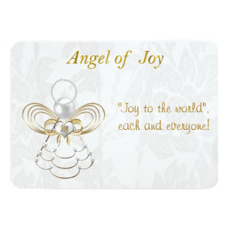 """Plantilla del texto - ángel metálico del navidad invitación 5"""" x 7"""""""