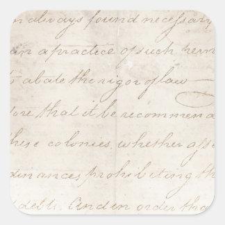 Plantilla del texto de la antigüedad del pergamino pegatina cuadrada