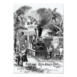 "Plantilla del tren de ferrocarril del Canal de Invitación 5"" X 7"""