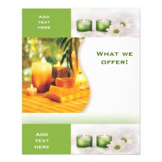 """Plantilla del verde 3 del balneario del salón de folleto 4.5"""" x 5.6"""""""