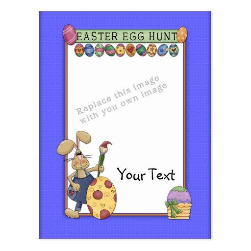 Plantilla - diseño de Pascua con el conejito y los Postal