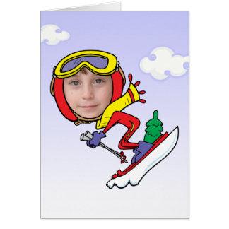 Plantilla divertida de la cara de la foto del esqu tarjeta de felicitación