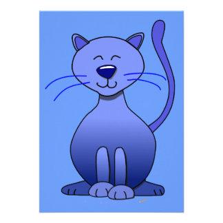 Plantilla divertida sonriente azul feliz linda de comunicado personal