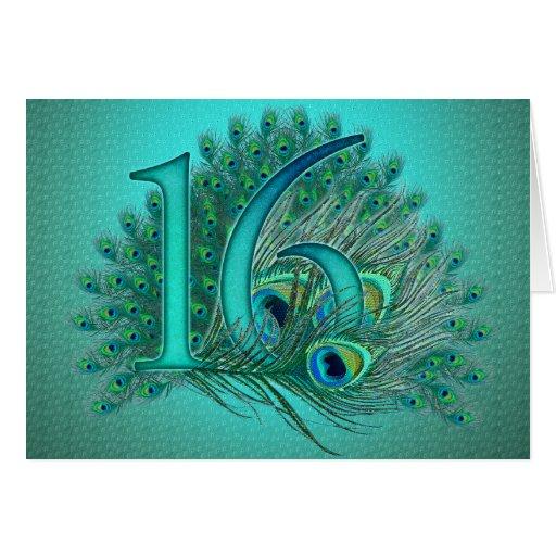 Plantilla elegante de la pluma del pavo real del d felicitacion