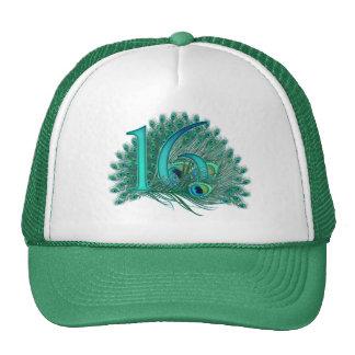 Plantilla elegante de la pluma del pavo real del gorras