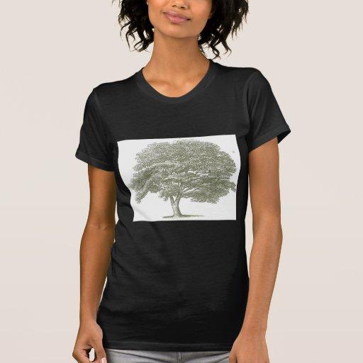 Plantilla elegante del gráfico del árbol del boda camisetas
