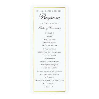"""Plantilla elegante del programa del boda de la invitación 4"""" x 9.25"""""""