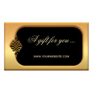 Plantilla elegante del vale del oro tarjetas de visita
