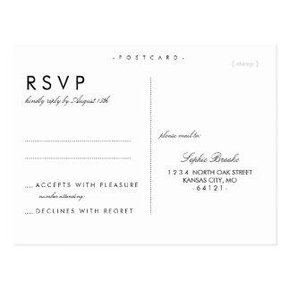 Plantilla elegante simple de la postal de RSVP que