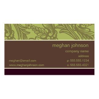 Plantilla elegante verde oliva de la tarjeta de tarjetas de visita
